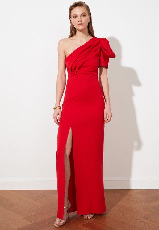 Puff Sleeve Front Split Dress