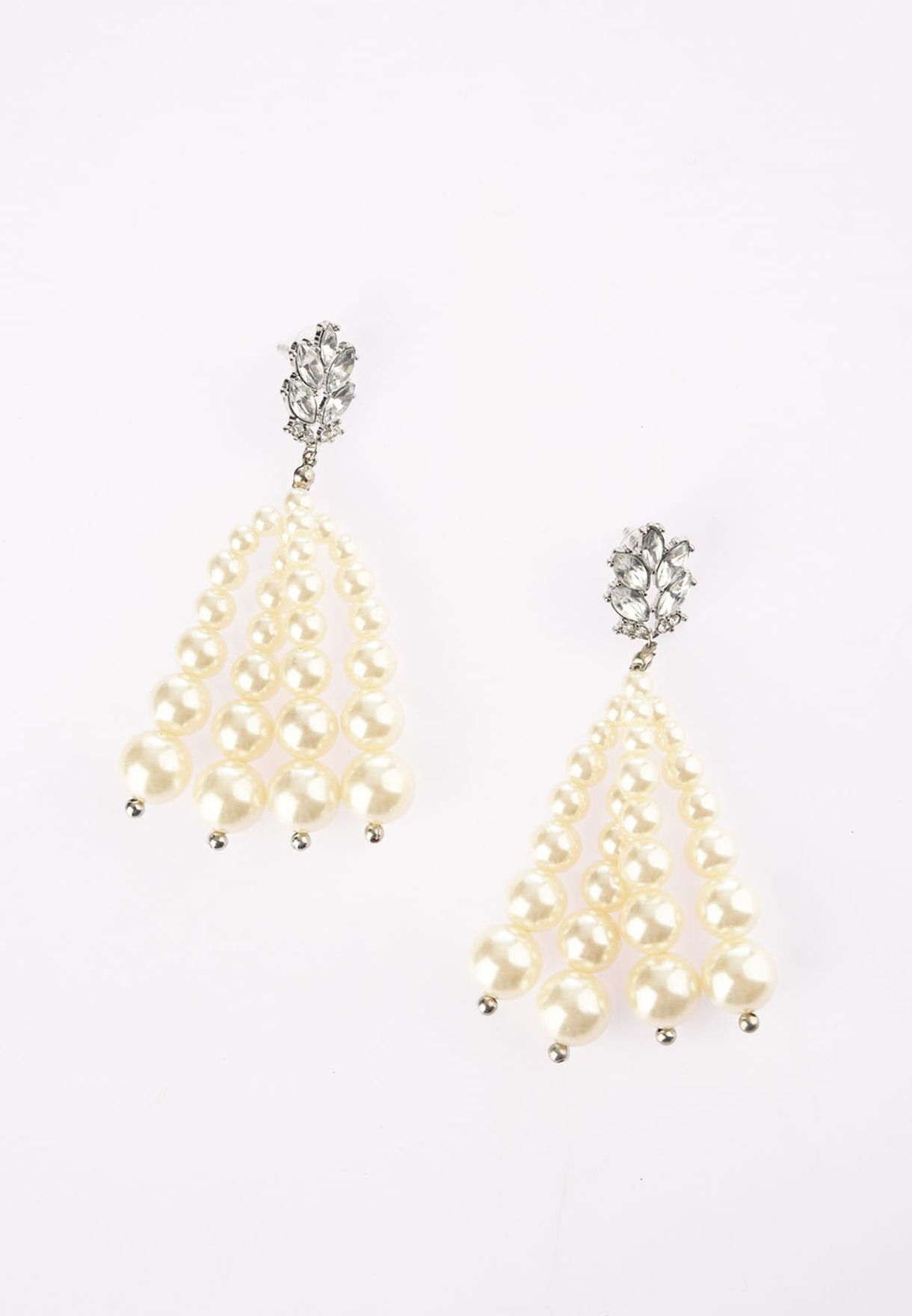 White Stone and Beaded Earring