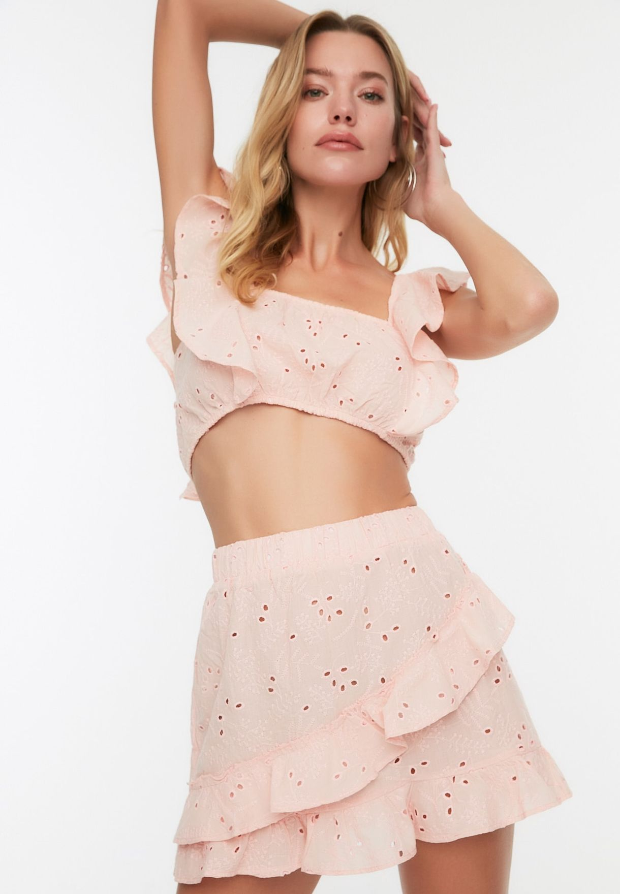 Embroidered Crop Top & Skirt Set