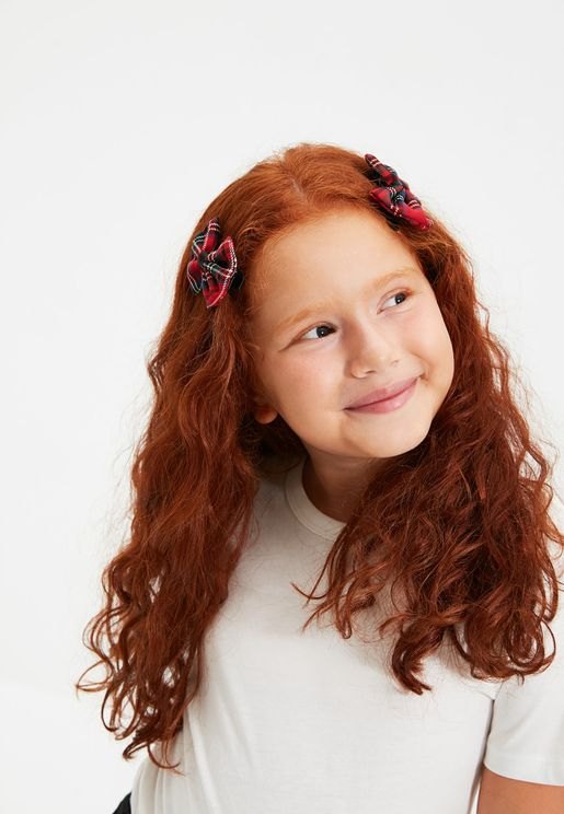 Kids 4 Piece Checked Hairclip
