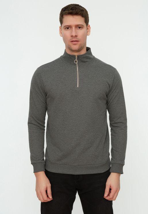 Turtle Neck Zip Detail Sweatshirt