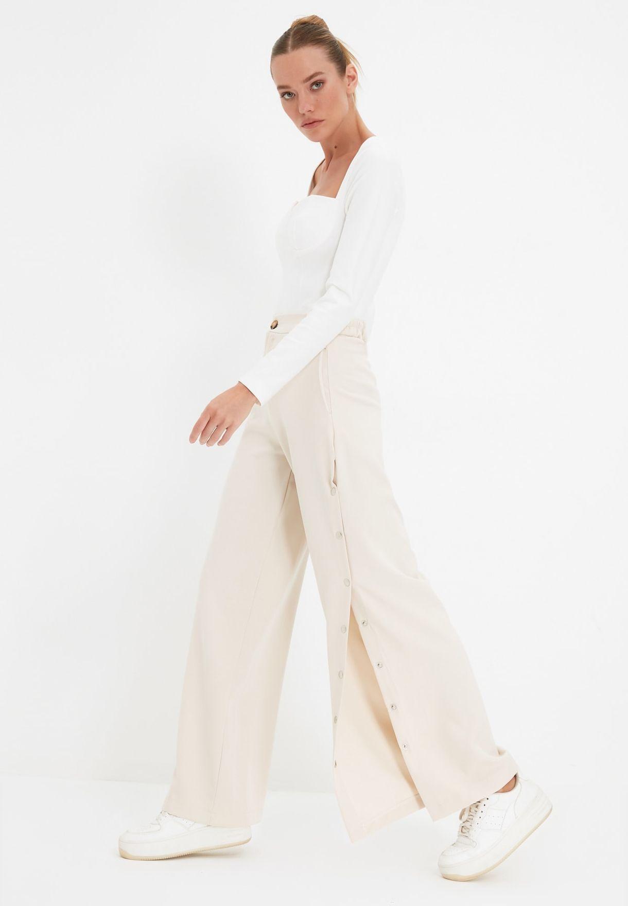 Button Down Side Split Pants