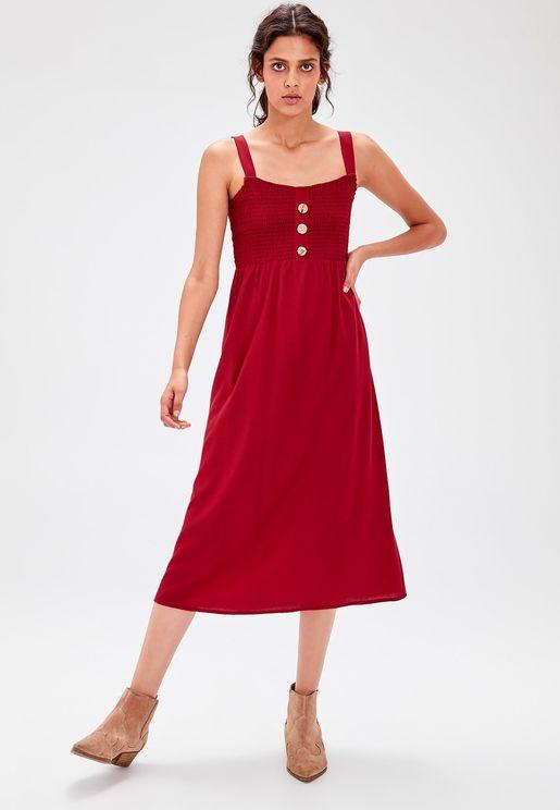 Button Detail Shirred Dress