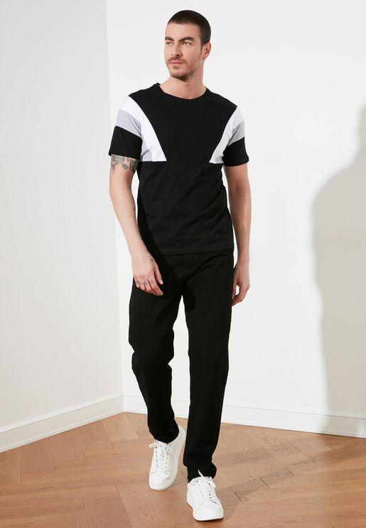 Cut & Sew Crew Neck T-Shirt