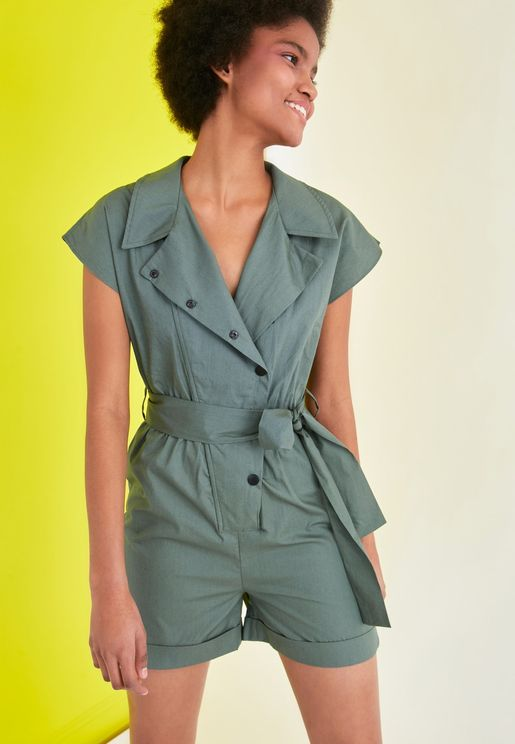 Button Detail Playsuit
