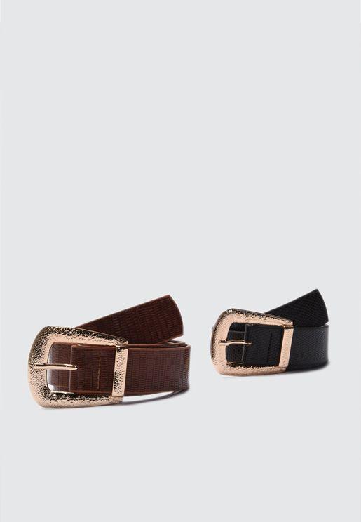 2 Pack Textured Belt