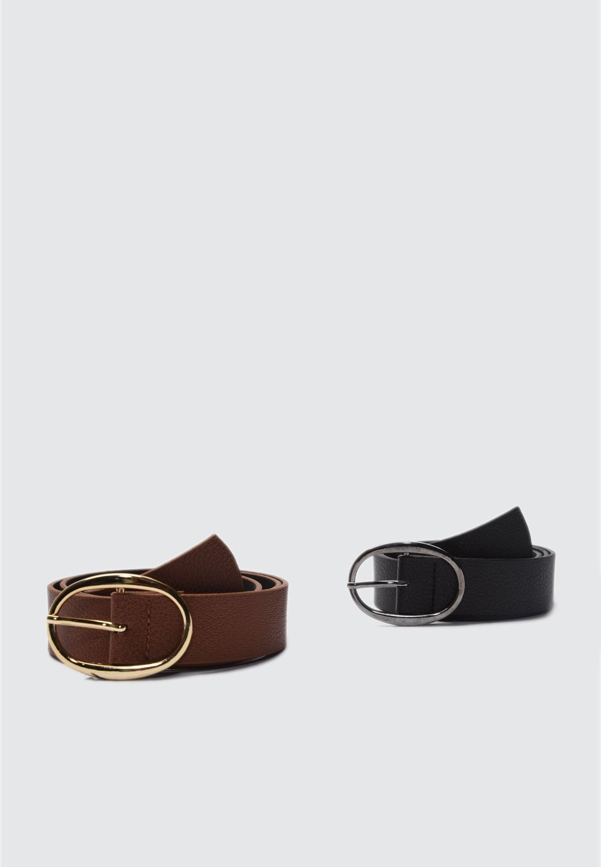 Black and Tan 2 Pack Buckle Leather Look Belt