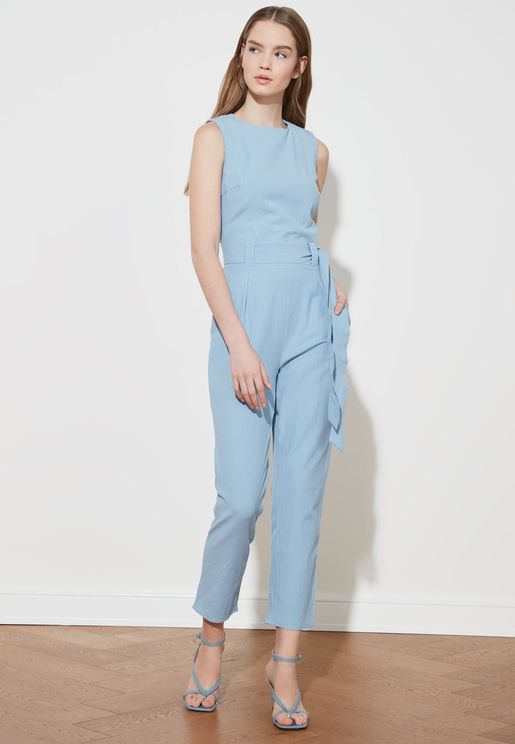 Crew Neck Straight Jumpsuit