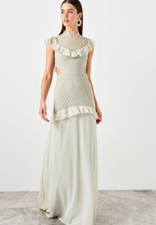 High Neck Ruffle Detail Lace Dress