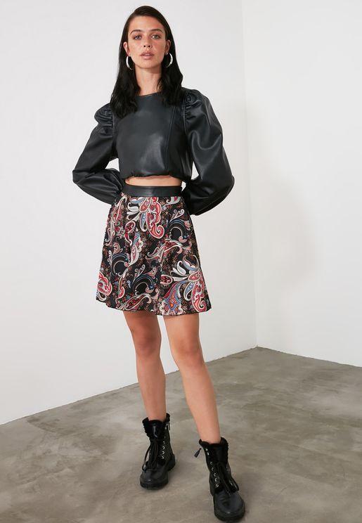 High Waist Printed Skirt