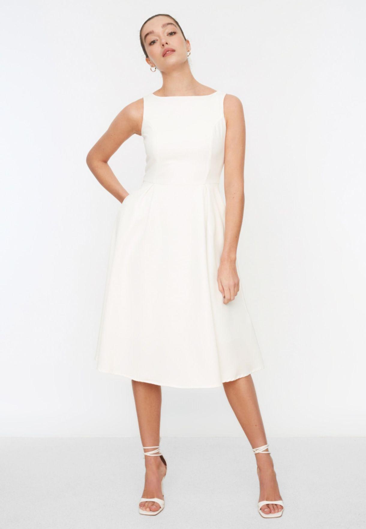 Pleated Skater Dress
