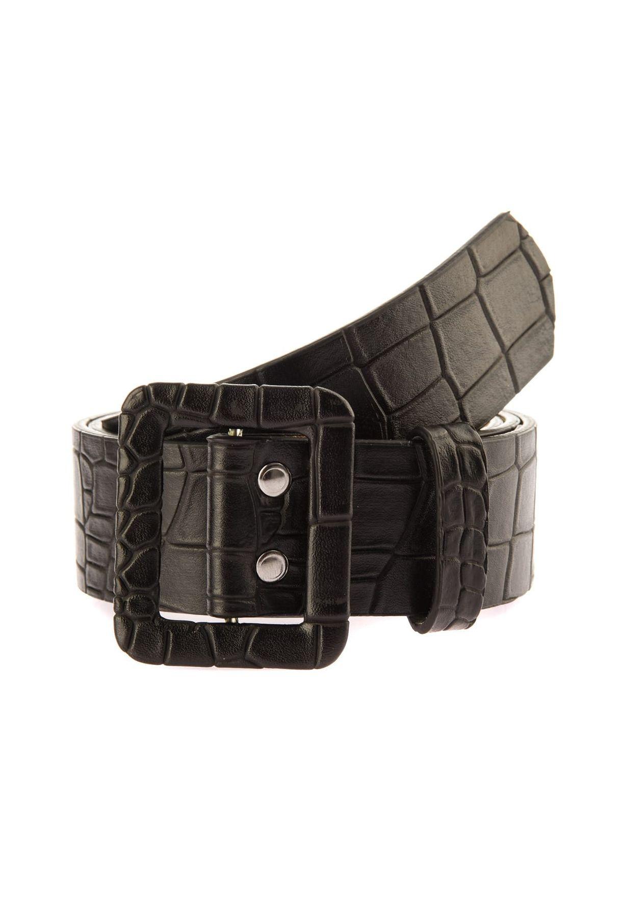 Croc Square Buckle Belt