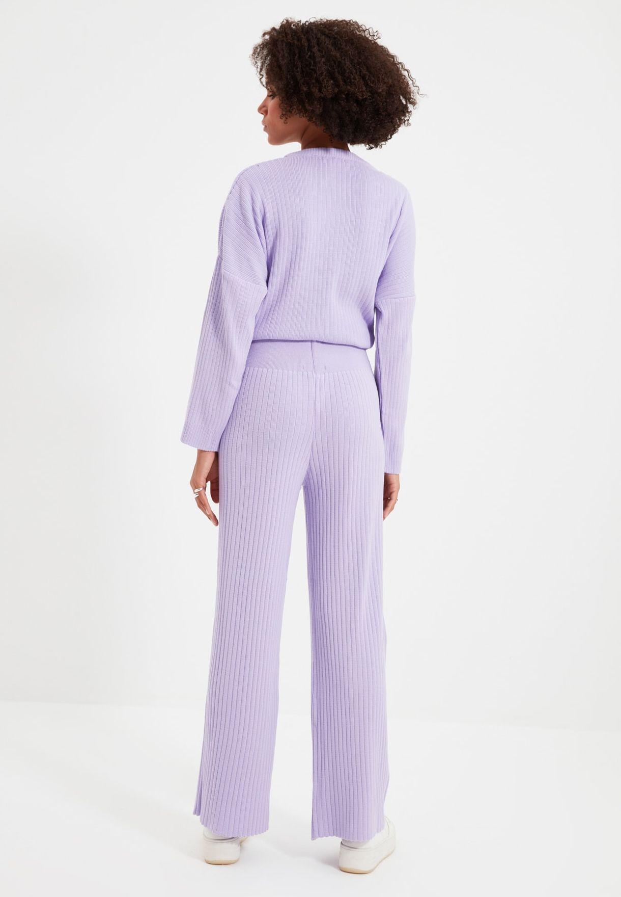 Ribbed Top & Wide Leg Pants Set