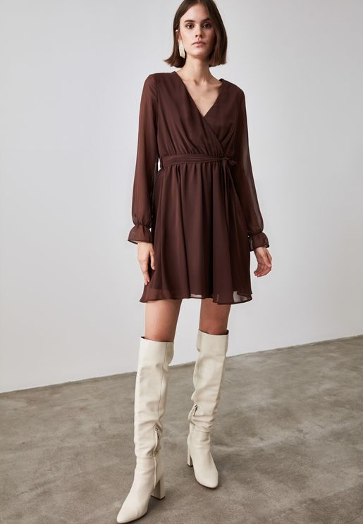 Pleated V-Neck Shfit  Dress