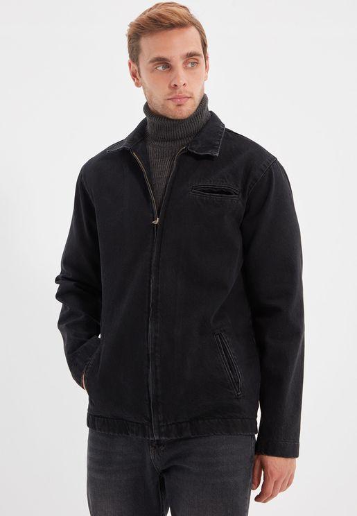 Mid Wash Zip Detail Denim Jacket