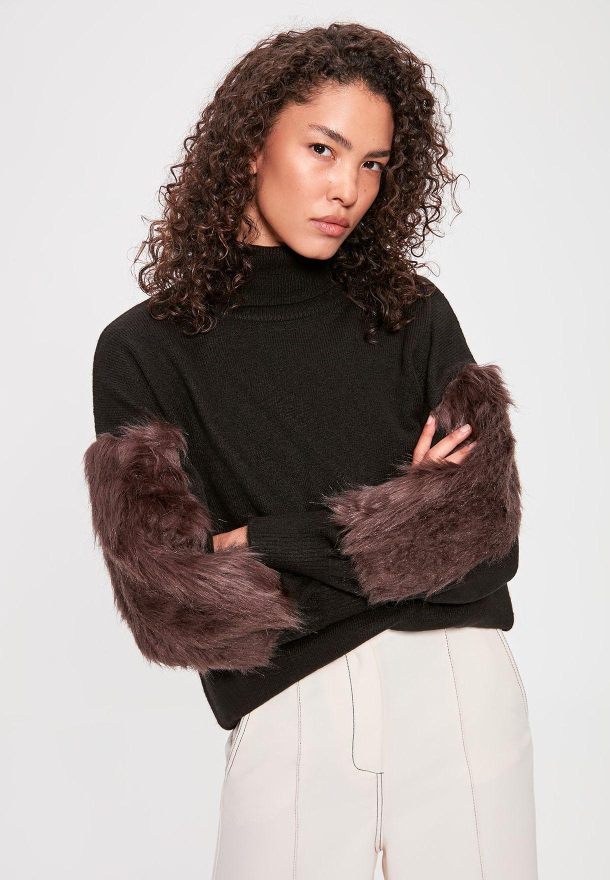 Fur Detail Sweater