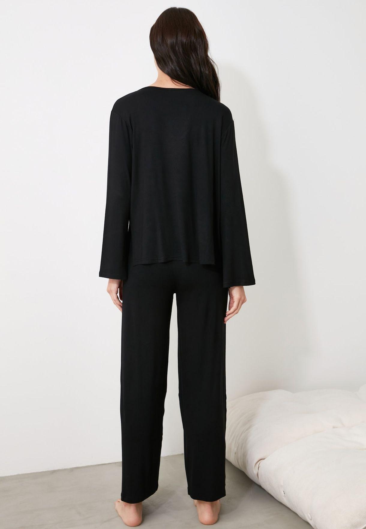 V-Neck Knitted Pajama Set
