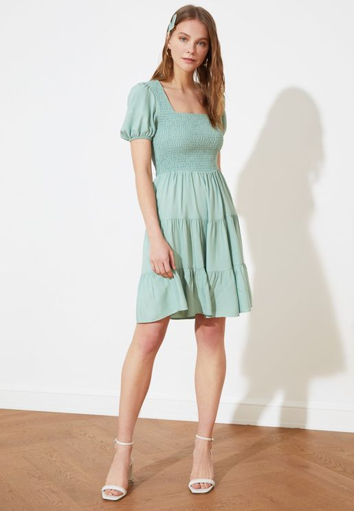 Square Neck Pleated Dress