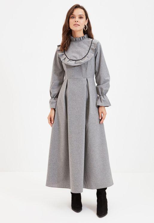 High Neck Ruffle Detail Pleated Dress