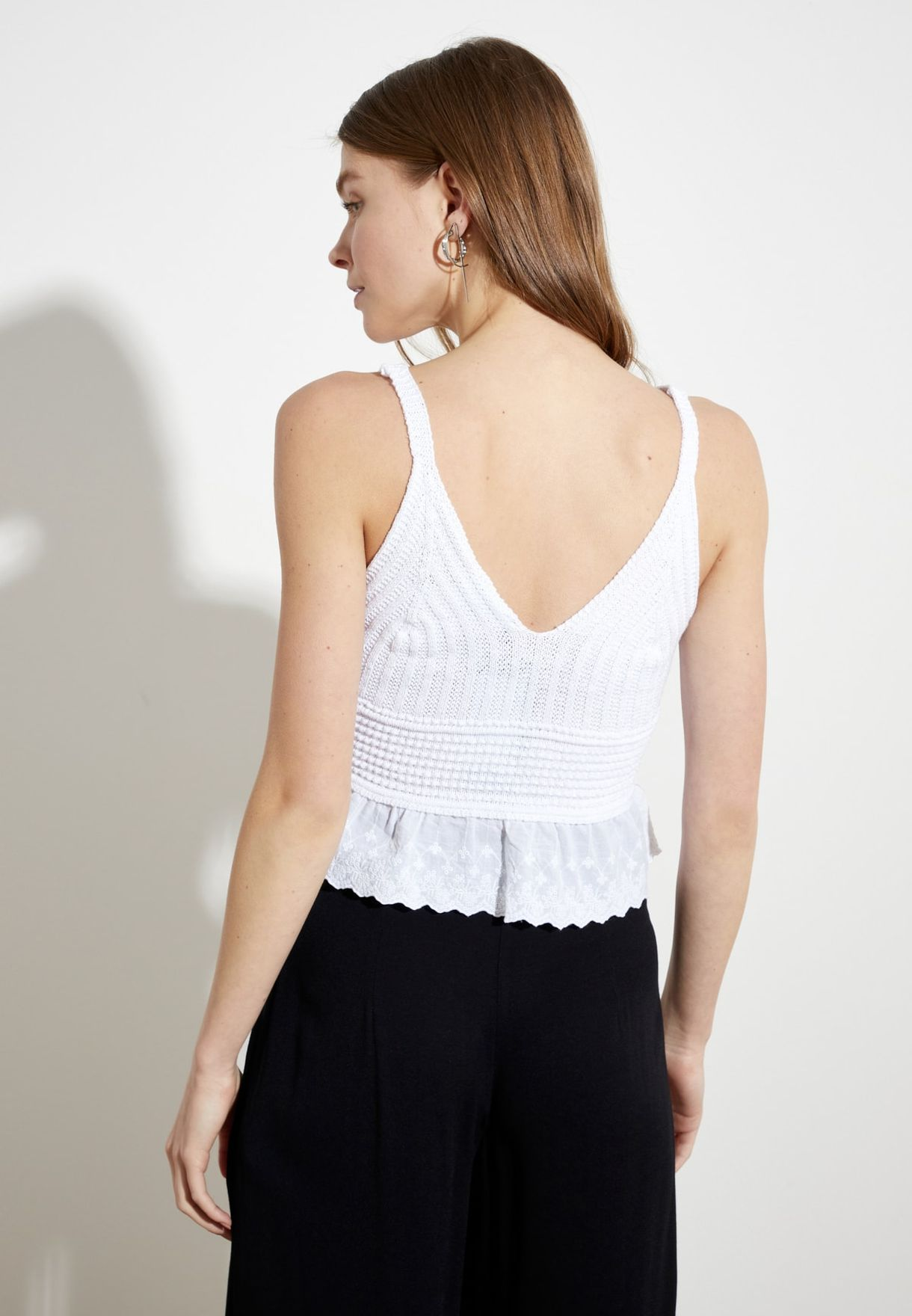 Knitted Peplum Crop Top