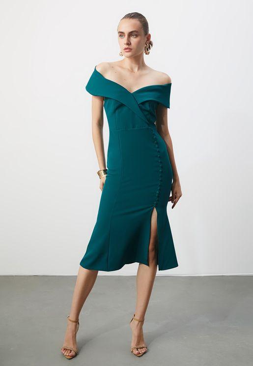 Bardot Button Detail Dress