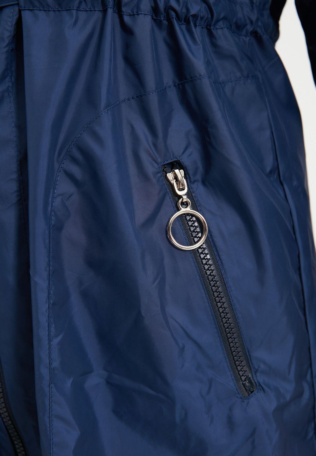 Zip Detail Hooded Coat