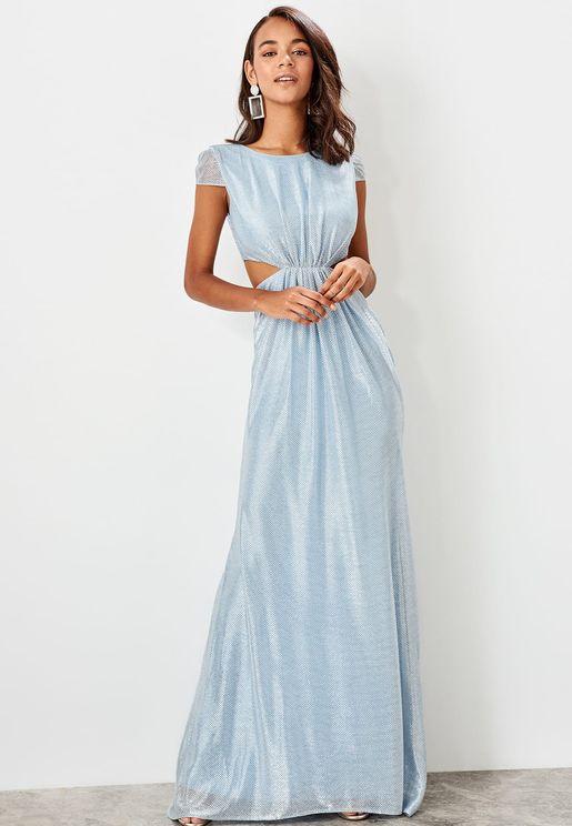 Cut Out Mesh Trim Dress