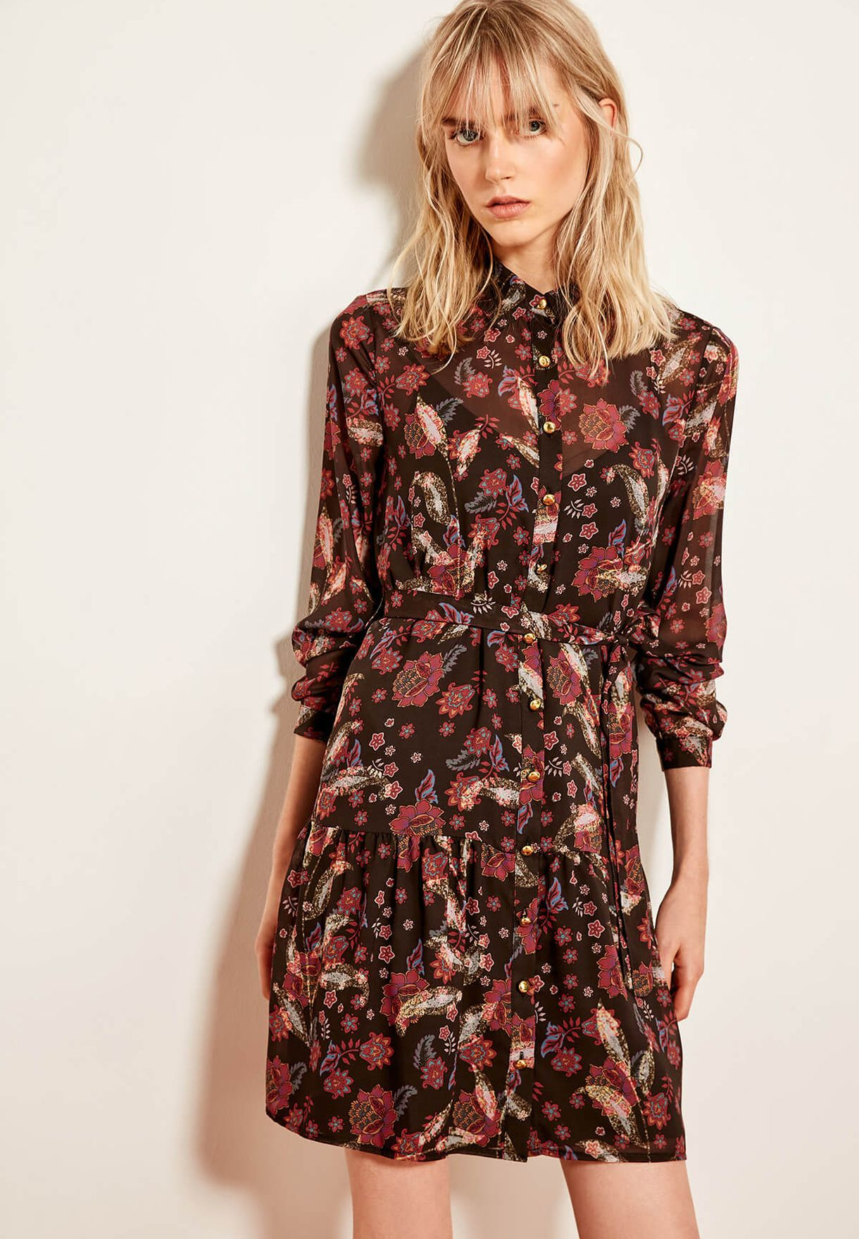 75b27d625aa4 Shop Trendyol black Tie Waist Floral Print Shirt Dress TCLAW19EH0241 ...