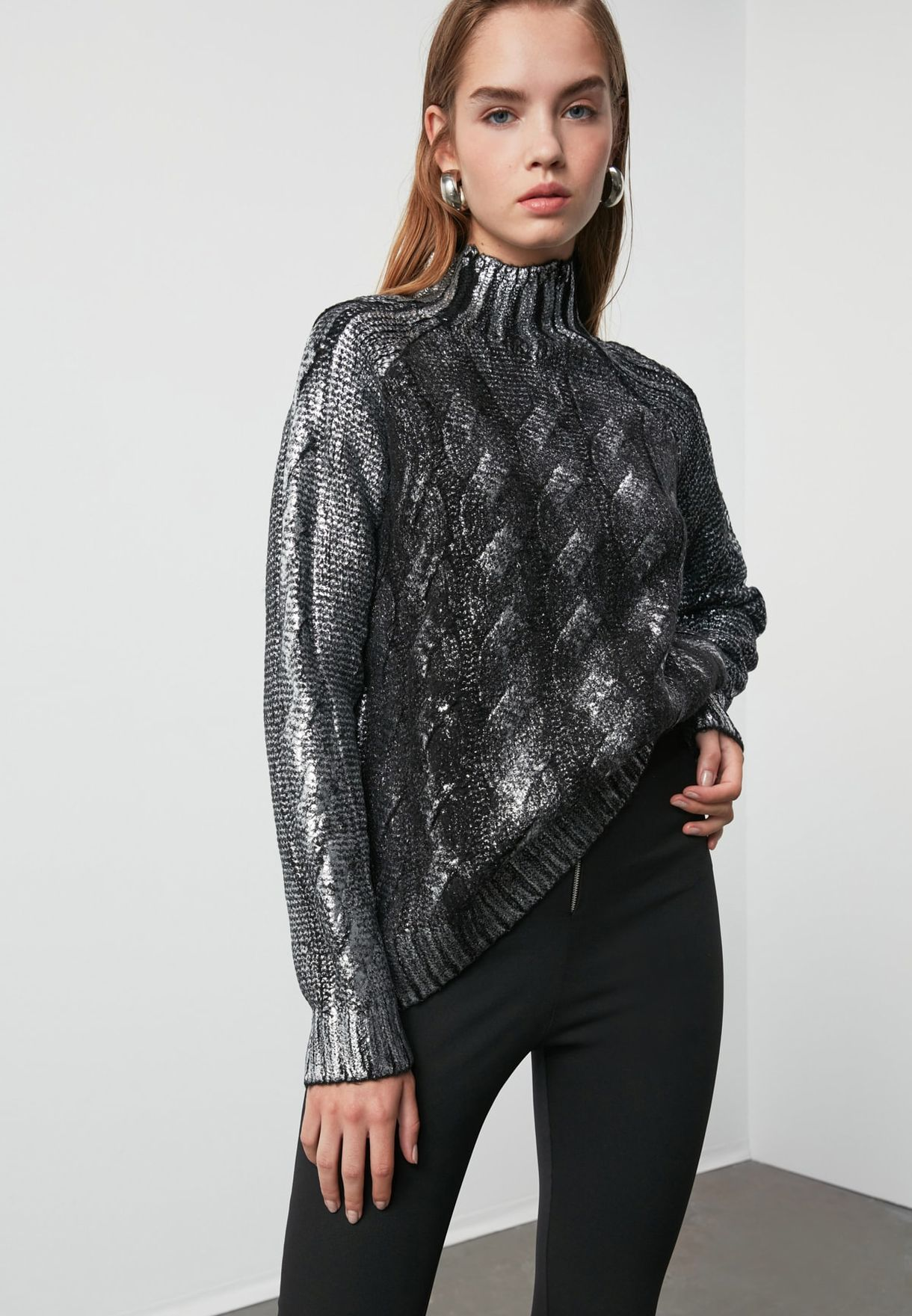 High Neck Shimmer Sweater