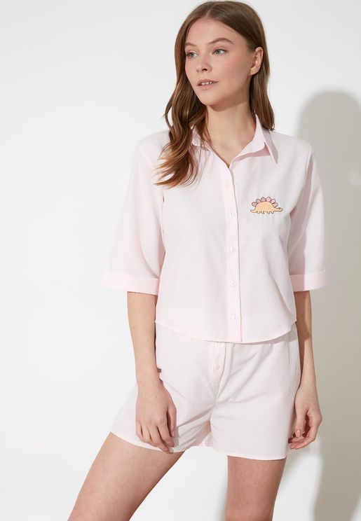 Embroidered Knitted Pyjama Set