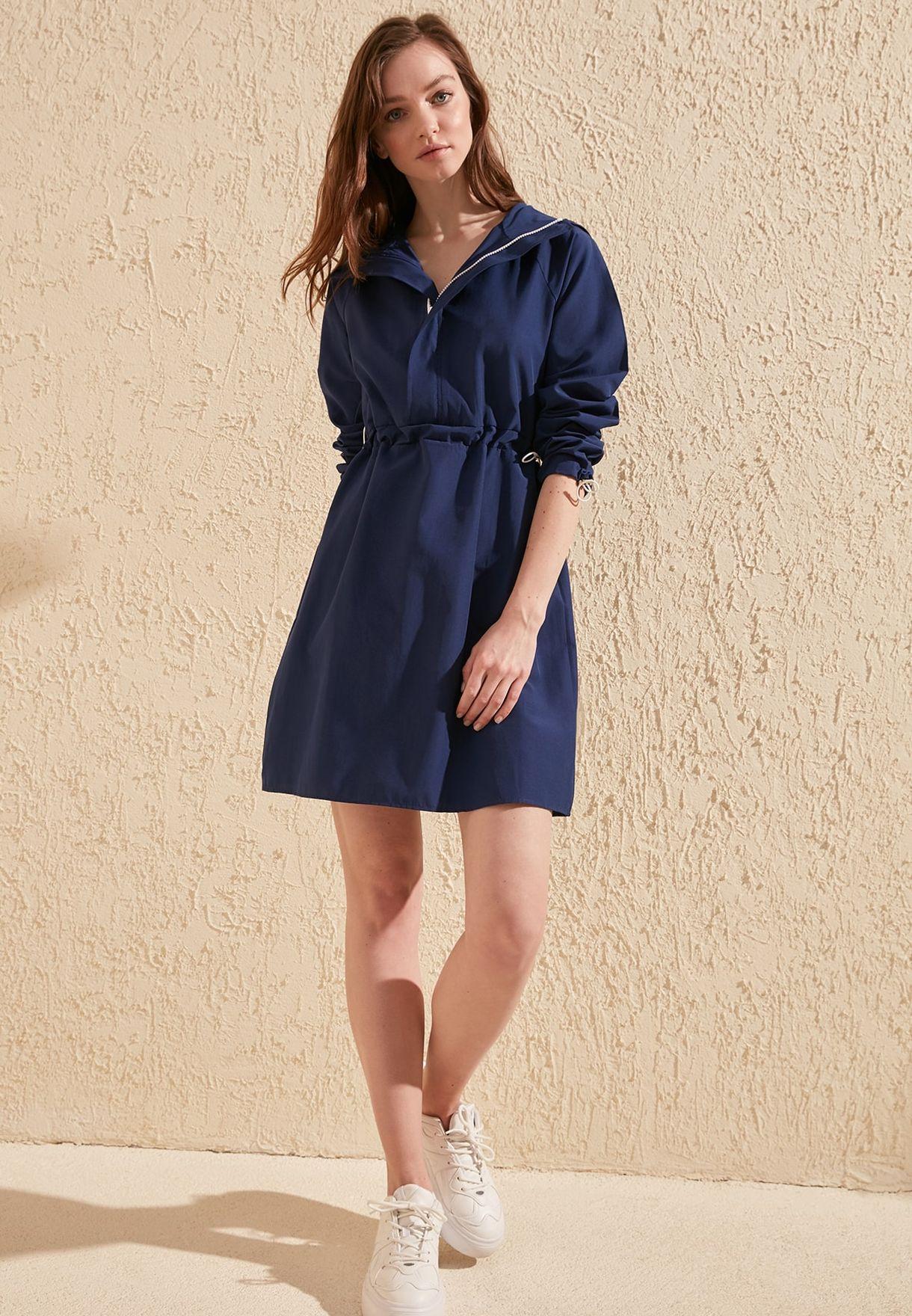 Zip Detail Hooded Dress