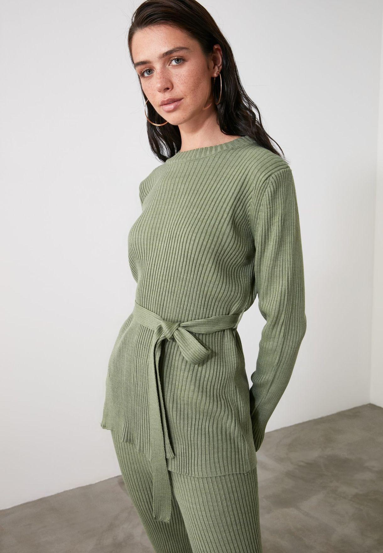 Ribbed Sweater & Tie Waist Sweatpants Set