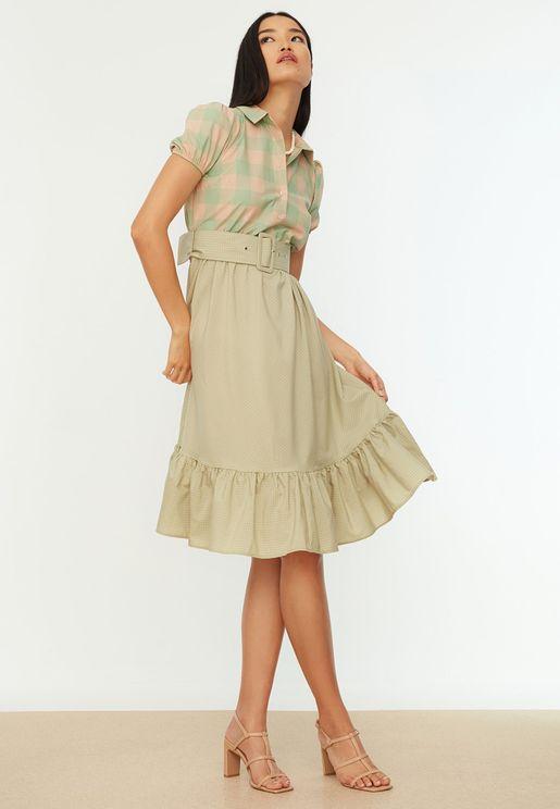 Colorblock Shirt Dress