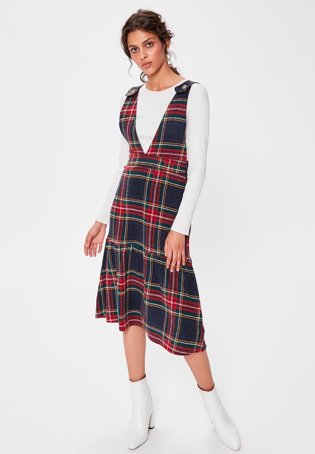 Asymmetric Checked Dress