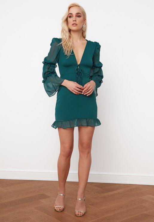 V-Neck Mesh Sleeve Dress