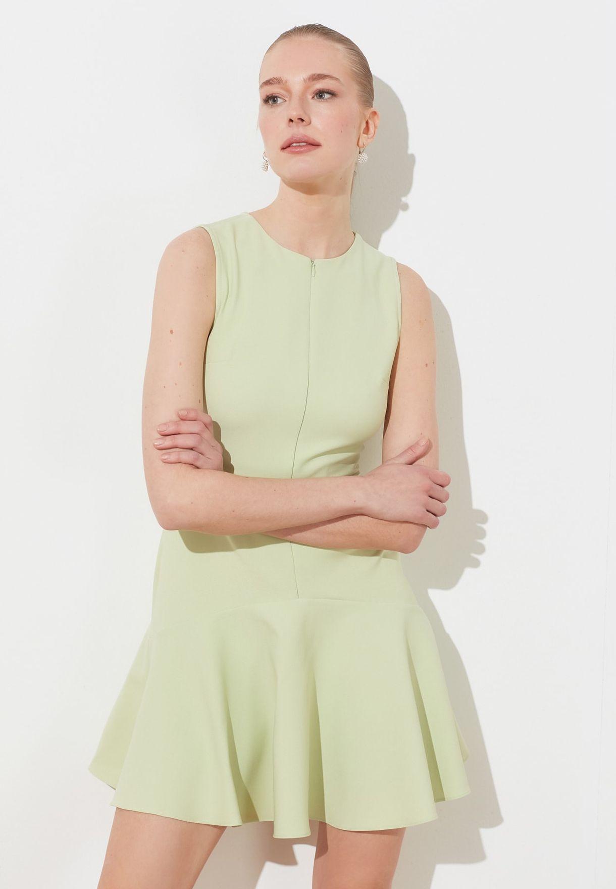 Ruffle Hem Zip Detail Dress