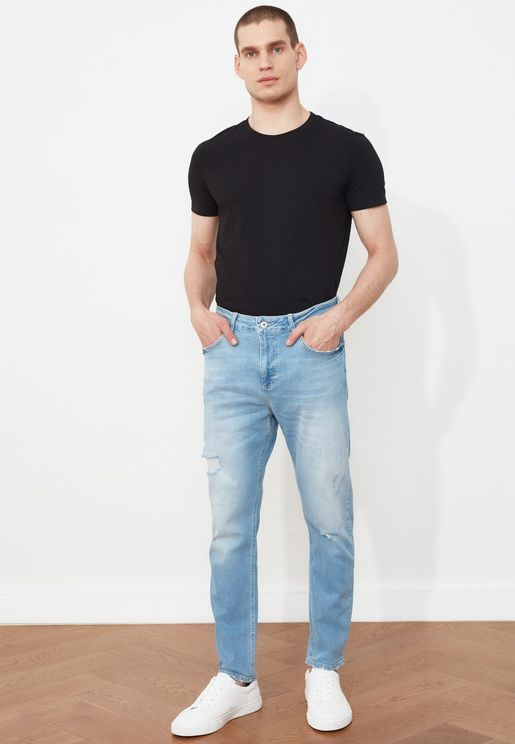 Ripped Detailed Normal Waist Carrot Fit Jeans