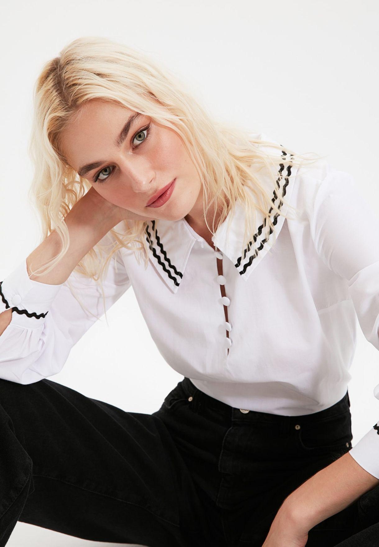 Buy Trendyol White Collar Detail Top For Women, Uae 27680atfkyip