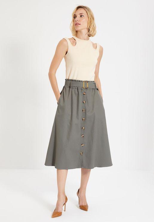 Button Detail High Waist Skirt