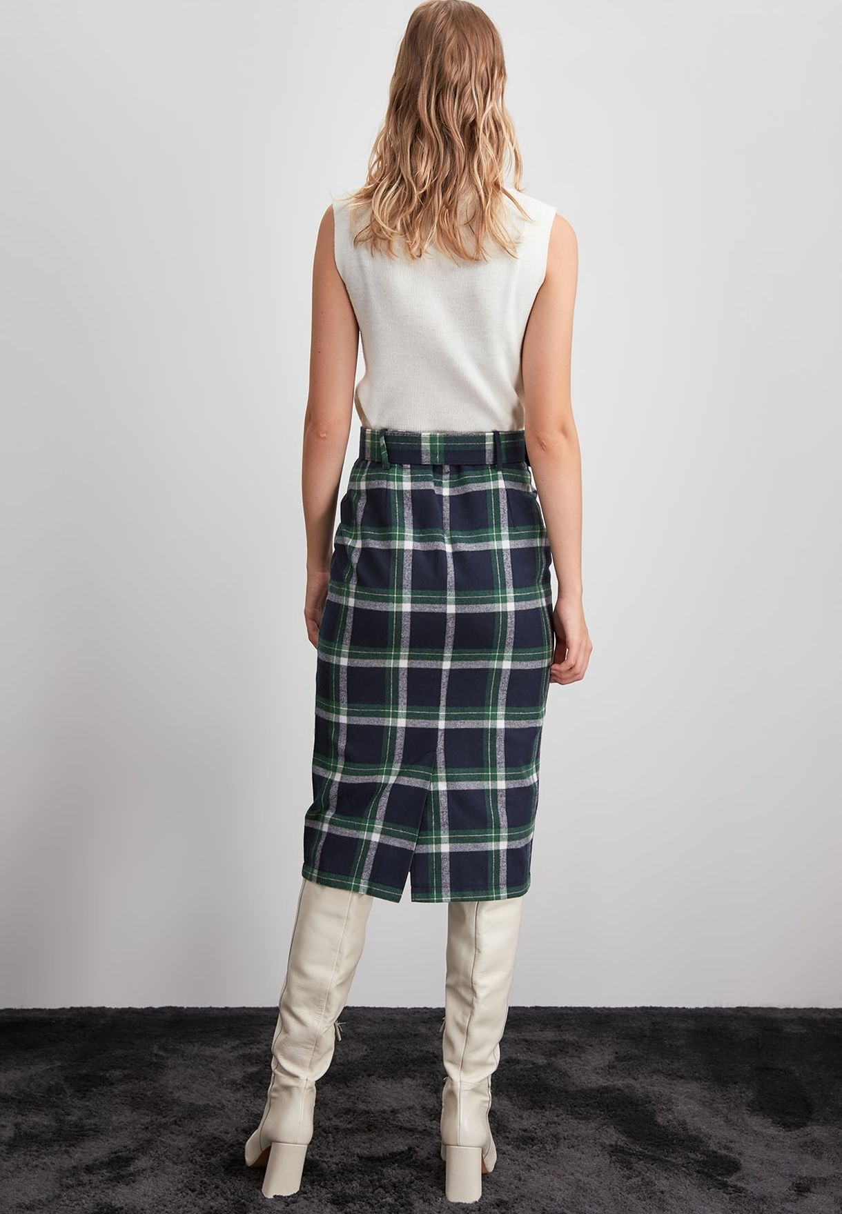 Checked Pencil Skirt.