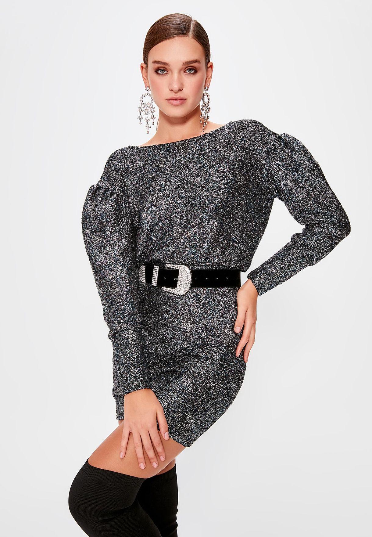 Trendyol Boat Neck Shimmer Dress - Fashion