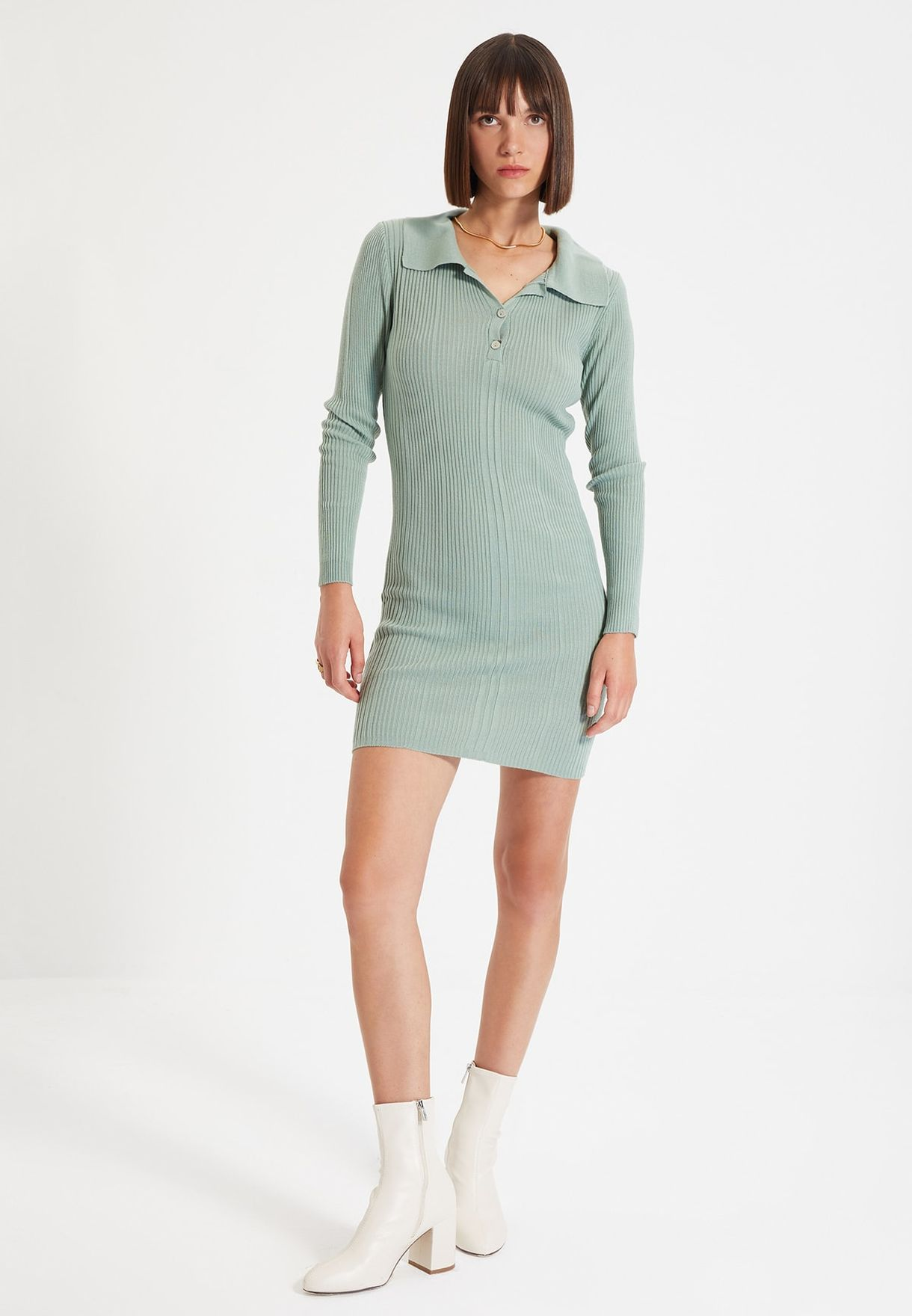 Button Detail Ribbed Dress