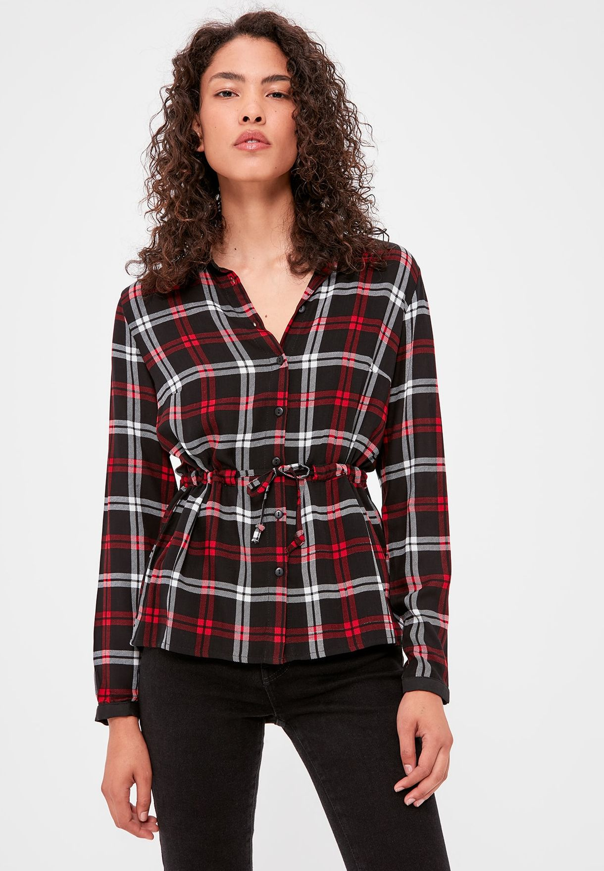 Checked Drawstring Shirt