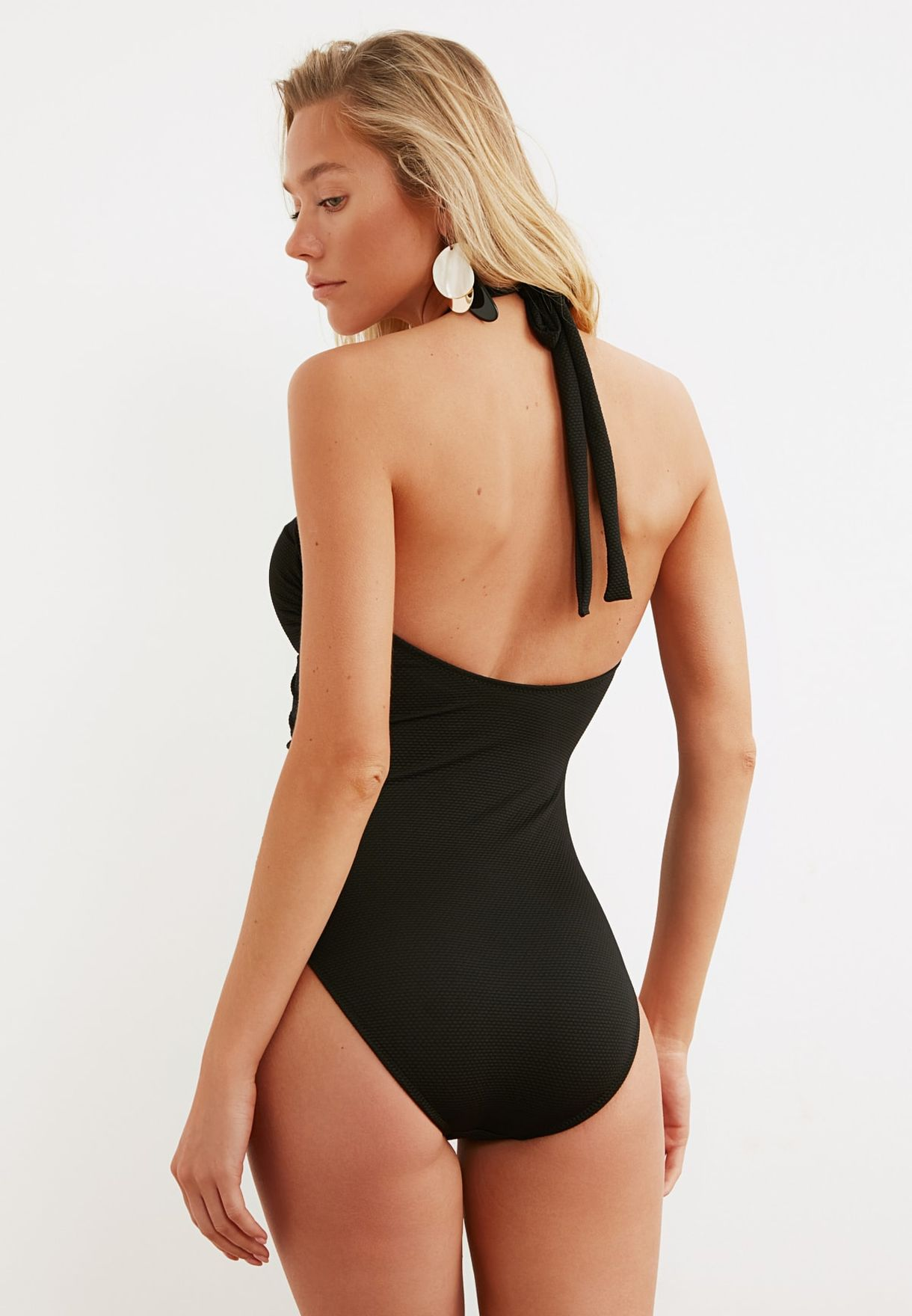 Black Accessory Detailed Tie Swimsuit