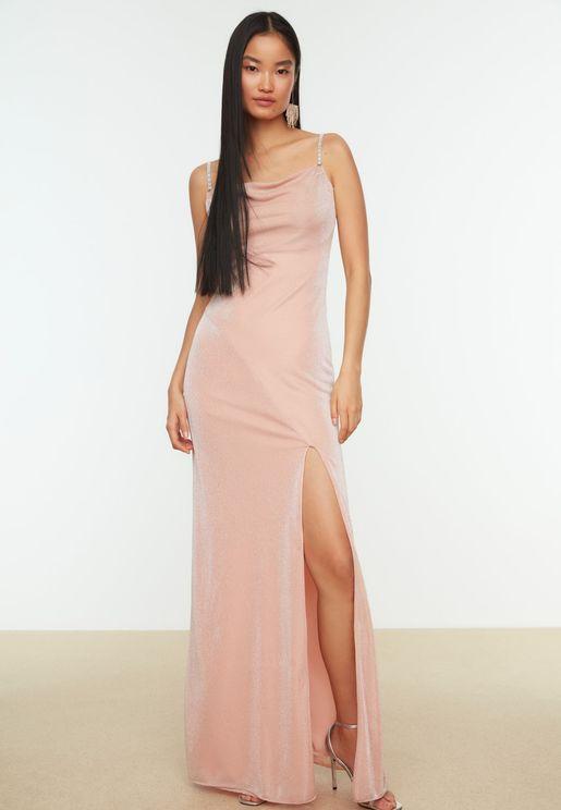 Cowl Neck Cami Side Slit Dress