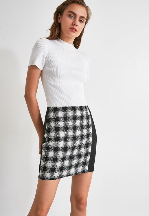 Checked Colorblock Dress