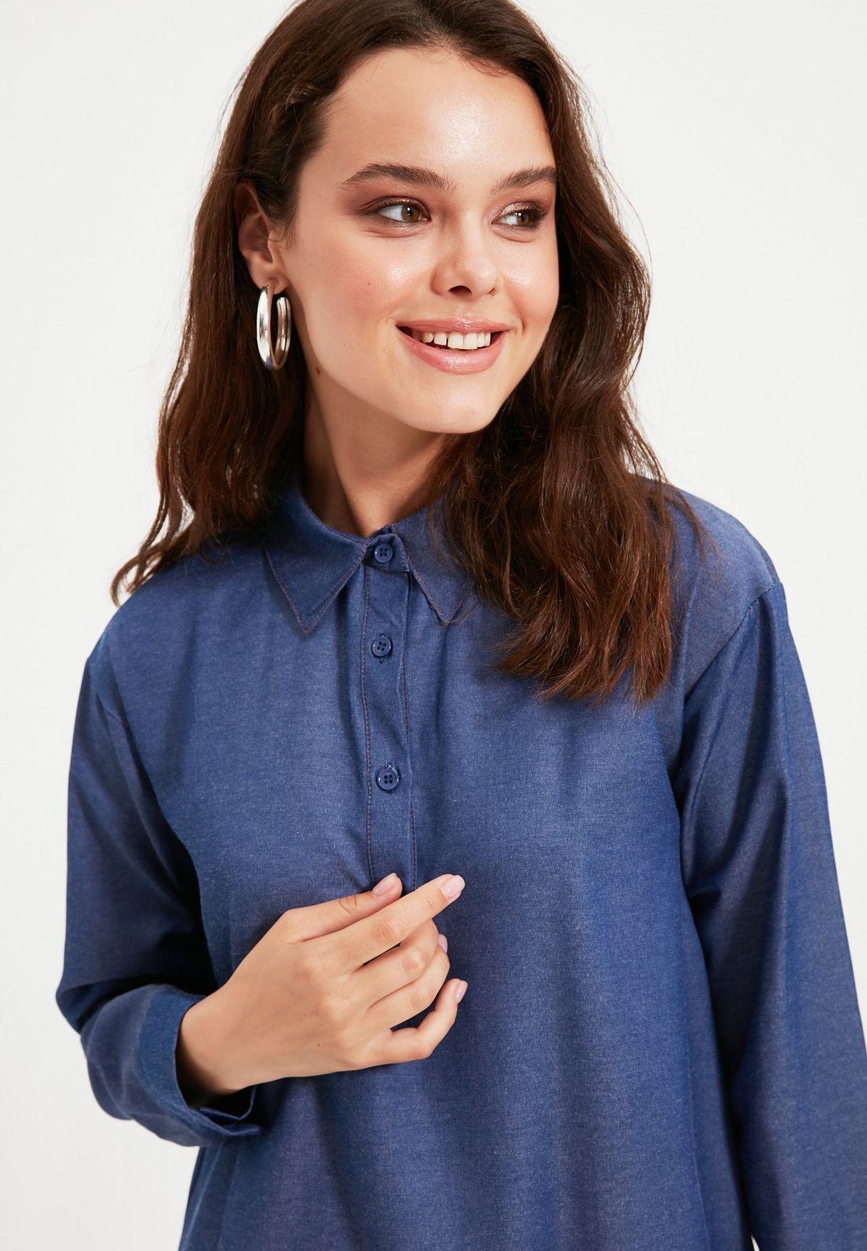 Button Detail Longline Tunic