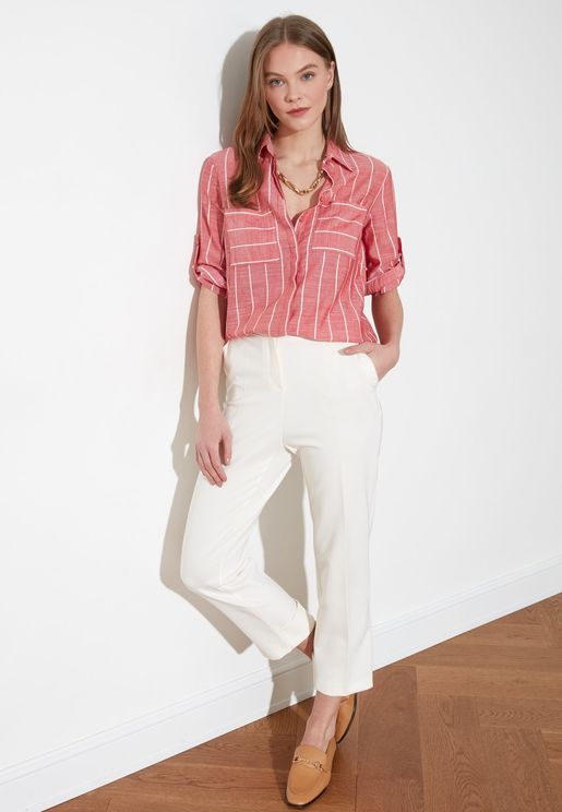 Roll Sleeve Striped Shirt