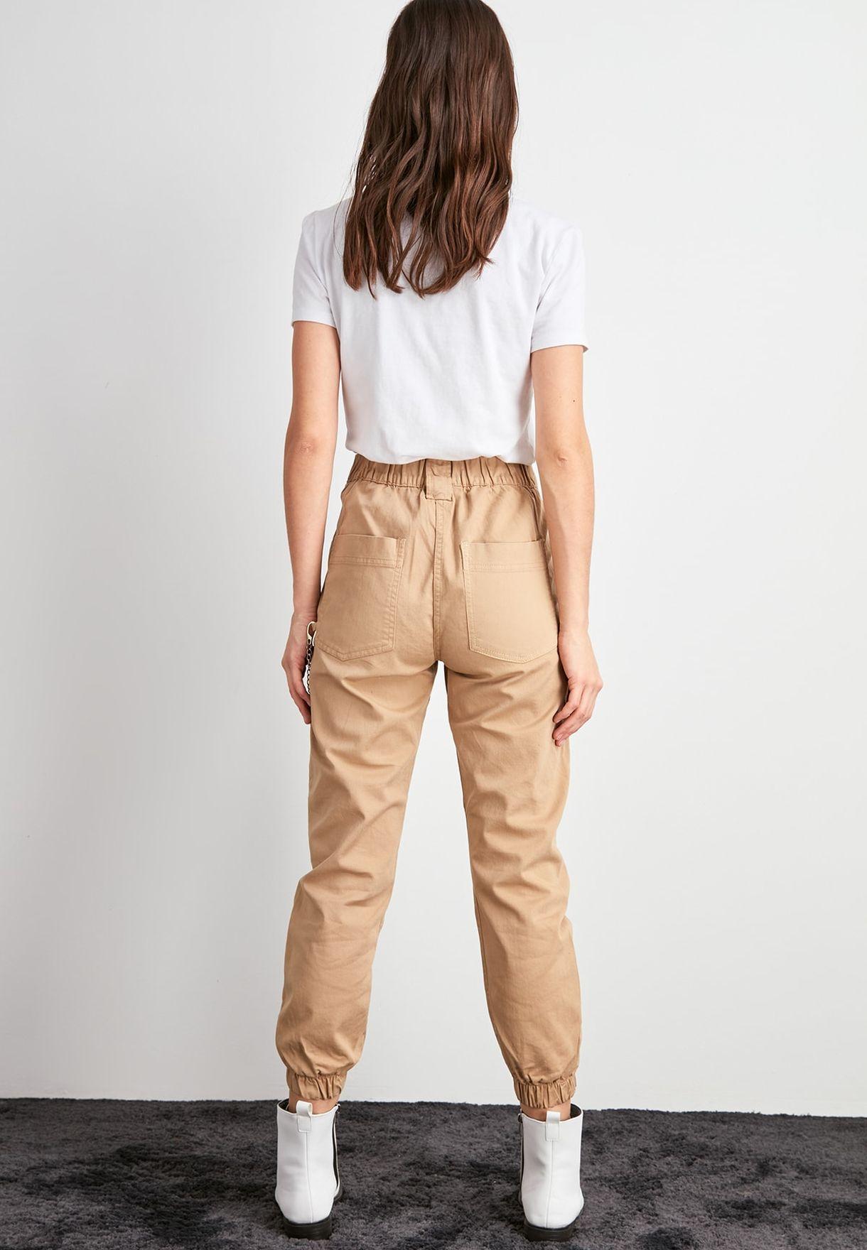 High Waist Cuffed Jeans