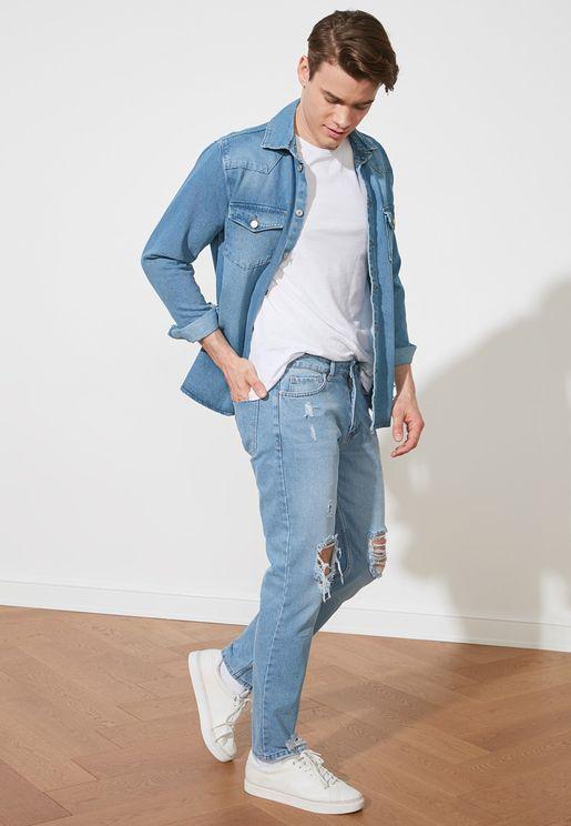 Mid Wash Regular Fit Jeans
